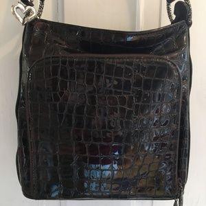 BRIGHTON Genuine Leather Brown Croc Shoulder Bag